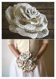 DIY wedding bouquet /// this is such a neat idea! Uh forget wedding bouquet I just want it as a decoration in my house lol How To Make Paper Flowers, Diy Flowers, Book Flowers, Real Flowers, Wedding Flowers, Paper Flower Wedding Bouquets, Flower Crafts, Bouquet Wedding, Book Page Flowers