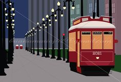 Print of New Orleans Street Cars at Night by PrintOrginal on Etsy