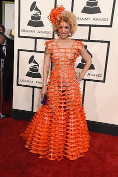 Grammy Awards Superlatives: From Most Naked to Most Outrageous | Most Outrageous: Joy Villa in Andre Soriano