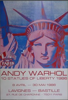 Andy Warhol Portrait Print - 10 Statues Of Liberty - Vintage Poster - 1986 1986 Pop Art Andy Warhol Pop Art, John William Waterhouse, Pop Art Vintage, Vintage Posters, Vintage Gallery, Applique Art Deco, Warhol Paintings, Liberty New York, Pop Art Posters