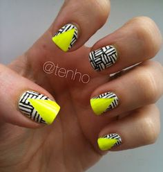 Gorgeous Neon Graphic #nails from tenho! #Nailart #bellashoot