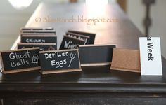 Bliss Ranch: Recycled Name Plate Food Tags Open House Parties, Desk Name Plates, Food Tags, Sign Stencils, Diy Recycle, Reuse, Old Signs, Mineral Paint, Crafty Craft