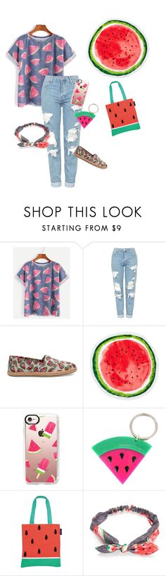 """Watermelon Chic"" by grace-granger on Polyvore featuring Topshop, TOMS, Nordstrom Rack, Casetify, Charlotte Olympia, Sunnylife, Red Camel and watermelon"