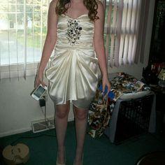 Cream Strapless Short Dress
