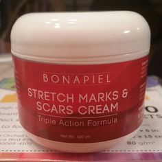"""Nothing is going to """"rid"""" you of stretch marks. But with this Stretch Marks & Scars Cream you can definitely lighten them up. This cream glides on silky, smooth and smells like lemons. Only takes a small amount, absorbs quickly, and leaves no greasy after feel. You can use daily on your stomach, hip, and thighs. Also, great for scars! I received this product free for my review, but my opinions are my own. #Bonapiel"""