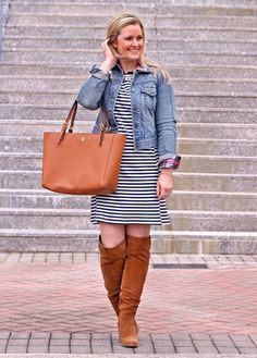 How to style over the knee boots with a dress for a great transitional outfit by Peaches in a Pod