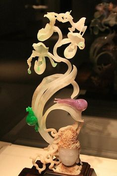 Delicate botanical jade sculpture from Museum of Jade Art in Taipei