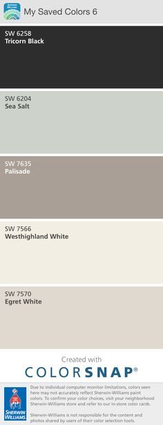 Color scheme:   Egret White for walls Westhighland White for trim  Tricorn Black for doors  Palisade for cabinets Sea Salt for dressing room ceiling