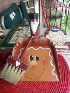 Handpainted Gingerbread DUST PAN AND BROOM HP