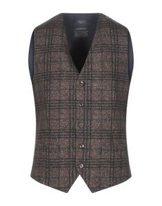Flannel No appliqués Tartan plaid V-neck Sleeveless Single-breasted  Multipockets Button closing Fully lined Stretch Mens Suit Vest, Mens Suits, Sportswear, Mens Fashion, Blazer, Brown, Casual, Jackets, Products