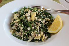 Grain Free Couscous Salad with Baby Kale & Artichoke Hearts