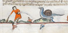 Knight vs snail: Detail from the Smithfield Decretals southern France (probably Toulouse) Medieval World, Medieval Art, Illuminated Letters, Illuminated Manuscript, Medieval Drawings, Snail Art, Butterfly Dragon, Monarch Butterfly, Fantasy Beasts