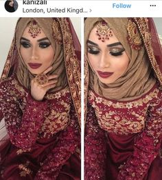 Inspiring Wedding Make Up Ideas with Arabic Style - Zine 365 Hijabi Wedding, Pakistani Wedding Outfits, Muslim Brides, Pakistani Bridal Dresses, Pakistani Wedding Dresses, Bridal Outfits, Bridal Hijab Styles, Bridal Style, Pakistan Wedding