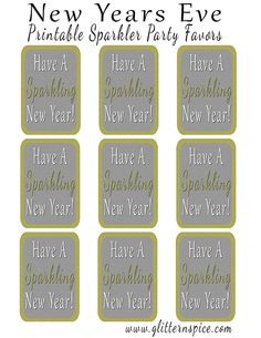 New Years Eve Printable Sparkler Party Favors #NewYears #NewYearsEve #printables