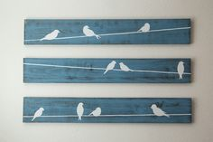 Rustic Wall Art - Birds on a wire 3 piece set, LARGE by HomeFrosting on Etsy…