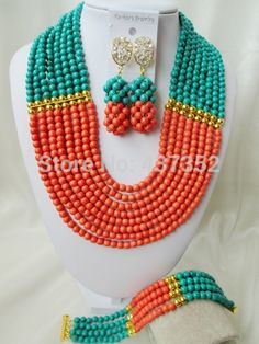 Online Shopping at a cheapest price for Automotive, Phones & Accessories, Computers & Electronics, Fashion, Beauty & Health, Home & Garden, Toys & Sports, Weddings & Events and more; just about anything else Turquoise Party, Orange And Turquoise, Green And Orange, Turquoise Jewelry, Teal Blue, Jewelry Party, Jewelry Gifts, Diy Store, African Beads