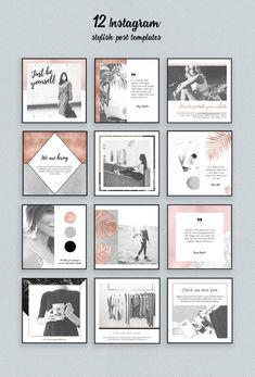 Rose Gold Instagram Templates Pack by Moving Parallels on @creativemarket Social media marketing at it`s best, use this ready to use design templates for a perfect strategy. Use it for quotes, tips, photos, etiquette, ideas, ports or what ever you need for your business.