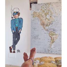 #wall #pared #ilustracion #dibujo #captainwillis #illustration #worldmap #mapa