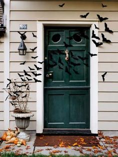 A bat-covered front door: We have options to buy them or DIY them.