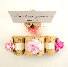 Succulent Bloom Place Card Holders use lovely succulent-style flowers & vintage wine corks.  Succulent wedding ideas to compliment succulent wedding centerpieces, by Kara's Vineyard Wedding