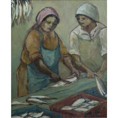For the ultimate experience in art Cleaning Fish, Working Woman, Art Gallery, History, Alice, Painting, Oil, Image, Women