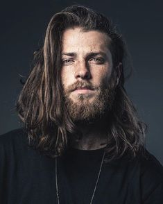 """""""Camera MAN Lane Dorsey has a strong look. If you've long hair apply beard oil to that as well as your beard and keep it all well conditioned. Beard Styles For Men, Hair And Beard Styles, Long Hair Styles, Smart Hairstyles, Popular Hairstyles, Foto Fantasy, Viking Men, Long Beards, Beard Balm"""
