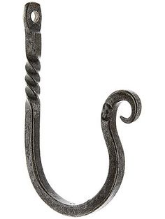 Wrought Iron Twist & Curl Hook With Natural Waxed Finish