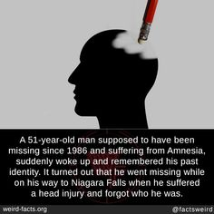 Creepy Facts, Fun Facts, Head Injury, Amnesia, Old Men, Suddenly, Year Old, Wake Up, Interesting Facts