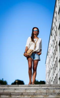 www.olivialehti.fi/strictlystyle white blouse denim shorts rayban mirror  miu miu outfit