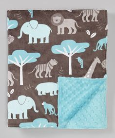 Take a look at the Lolly Gags 28'' x 32'' Topaz & Dark Charcoal Jungle Tales Minky Blanket on #zulily today!