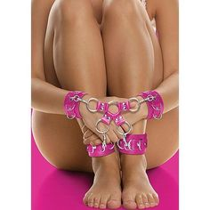 Leather Hand And Legcuffs Pink – Sexy Vibes
