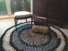 The Covington Rug made with a giant hook