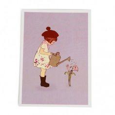 Kaart, meisje met gieter
