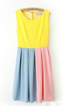 O-neck Pleating Hem Sleeveless Color Block Dress