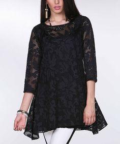 Black Lace Sidetail Tunic - Women & Plus by Tesoro Moda #zulily #zulilyfinds
