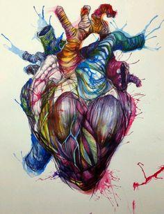 Biro and ink Anatomical Heart Art Aquarell Tattoos, Wal Art, 1 Tattoo, Hart Tattoo, Medical Art, Love Art, Art Inspo, Amazing Art, Awesome