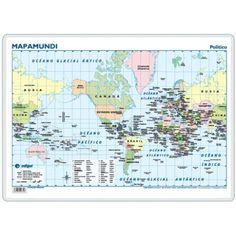 Mapamundi Americéntrico, político / físico