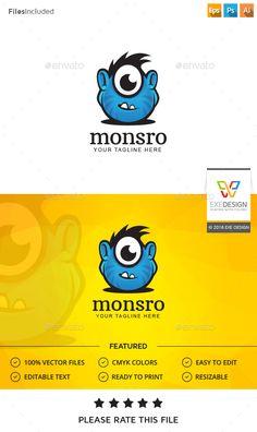 Monster  Logo Design Template Vector #logotype Download it here: http://graphicriver.net/item/monster-logo/15497576?s_rank=915?ref=nexion