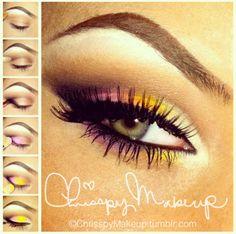 Eye make up pink yellow summer! Can't wait until Summer (: I'll be having fun with makeup. Love Makeup, Makeup Tips, Makeup Looks, Hair Makeup, Makeup Ideas, Makeup Tutorials, Makeup Designs, Makeup Stuff, Perfect Makeup