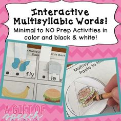 Interactive Multisyllabic Words! Minimal to No Prep speech therapy activities in color and black & white! Practice multisyllabic words with multi-modalities: visual, auditory, tactile, verbal, and FUN! Activity includes 23 pages of interactive activities to practice multisyllabic words!