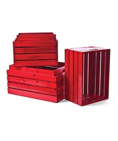This Red Wood Crate - Set of Five by Willow Group is perfect! #zulilyfinds