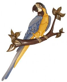 ~ WOODEN WONDERS ~  Macaw bird intarsia