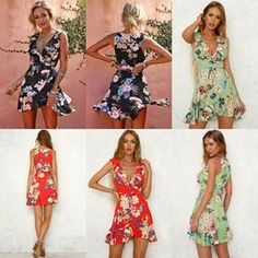 Complete your Summer look with a gorgeous Women Deep V Neck Sleeveless Flare Mini Beach Dress ✔ Worldwide Free Shipping ✔ Subscribe & Get $10 Off ✓ For shop click on bio Link & search id>>TDM00008  #Floralprint #beachdress #Shortdress #Ruffledress #sundress Color Block Bikini, Summer Looks, Ruffle Dress, Gorgeous Women, Flare, Floral Outfits, Short Dresses, Floral Prints, V Neck