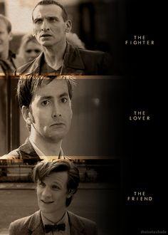 thelostaubade:  → Men of New Who: Revival Doctors 9th Incarnation — Christopher Eccleston 10th Incarnation — David Tennant 11th Incarnation — Matt Smith