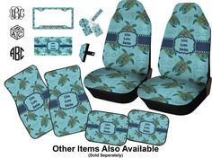 2ea405433f30 Amazon.com  RNK Shops Sea Turtles Car Seat Covers (Set of Two) (Personalized)   Automotive