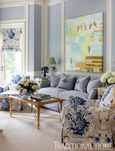Grey and Light Blue Living Room. 20 Grey and Light Blue Living Room. Love This Light Blue Living Room Coastal Living Rooms, Home Living Room, Living Room Decor, Kitchen Living, Kitchen Decor, Blue Rooms, White Rooms, Blue Walls, Blue And White Living Room