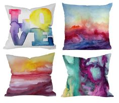 Doodle on a plain pillow with colored Sharpies, then use rubbing alcohol to get the watercolor look.