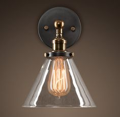 20th C. Factory Filament Glass Funnel Sconce - Aged Steel - Restoration Hardware ($115-$120)