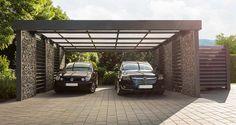 Gabionen-Carport mit Platz für zwei Fahrzeuge