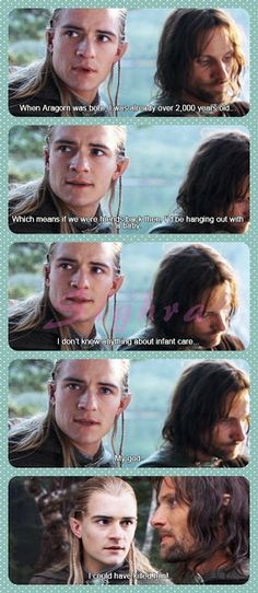 Legolas Aragon Lord of The rings movies Tolkien O Hobbit, Into The West, Jrr Tolkien, Geeks, Funny Love, Middle Earth, Lord Of The Rings, Narnia, I Laughed